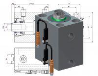 Heiss HBZ 350,  Hydraulik Blockzylinder aus Aluminium mit Positionsabfrage durch Magnetfeldsensoren