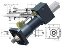 Hydraulikzylinder, Heiss Standardzylinder, SZ mit Ventilplattenanschluss, Servo, NG, Wegmessung, Wegmesssystem, Transsonar Wegaufnehmer
